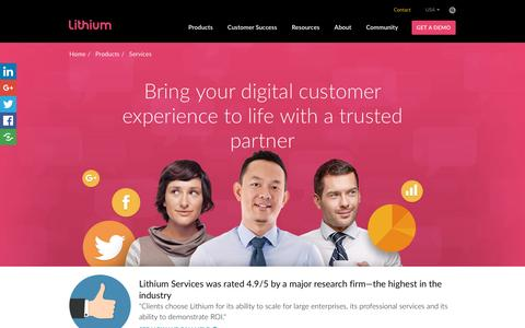 Screenshot of Services Page lithium.com - Social Media  Marketing Services - Implementing  Social Strategy   Lithium - captured Jan. 24, 2017