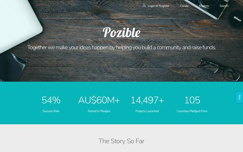 Screenshot of About Page pozible.com - Pozible - About - captured July 21, 2018