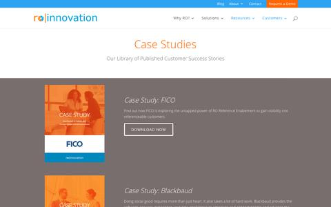 Screenshot of Case Studies Page roinnovation.com - Sales Enablement & Customer Reference Management Case Studies | RO Innovation - captured Aug. 3, 2018