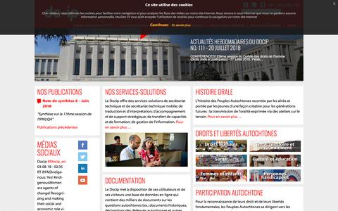 Screenshot of Home Page docip.org - Accueil - DOCIP - captured Aug. 8, 2018