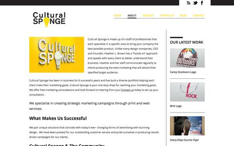 Screenshot of About Page culturalsponge.com - About | Print & Online Design Marketing | Cultural Sponge  | Cultural Sponge - captured Sept. 30, 2014
