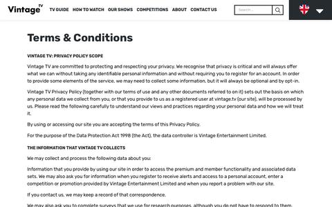 Screenshot of Terms Page vintage.tv - Terms & Conditions – Vintage TV - captured Oct. 18, 2018
