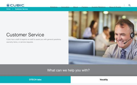 Screenshot of Support Page cubic.com - Customer Service | Cubic - captured Feb. 20, 2018