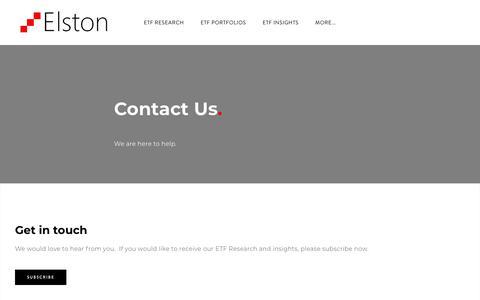 Screenshot of Contact Page elstonetf.com - Contact - Elston - captured July 18, 2018