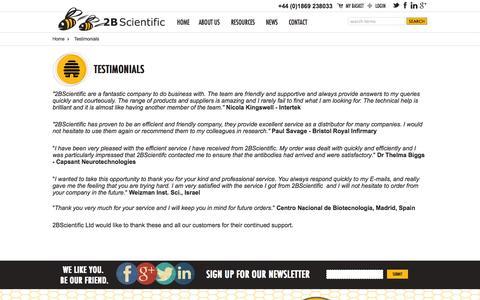 Screenshot of Testimonials Page 2bscientific.com - Testimonials - captured Oct. 9, 2014