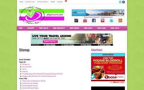 Screenshot of Site Map Page pingdesserts.com - Sitemap | Filipino Dessert Recipes by PingDesserts.com - captured Oct. 30, 2014