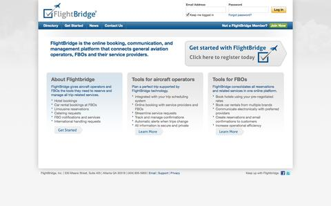 Screenshot of Home Page flightbridge.com - FlightBridge for Flight Departments, Pilots, FBOs, Caterers, Cars, Hotels, and other aviation trip related Service Providers - captured Sept. 30, 2014