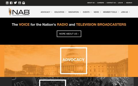 Screenshot of Home Page nab.org - NAB: The Voice for America's Radio and Television Broadcasters - captured Oct. 15, 2018