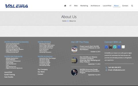 Screenshot of About Page valeira.com - VALEIRA Inc. |   About Us - captured Nov. 3, 2014