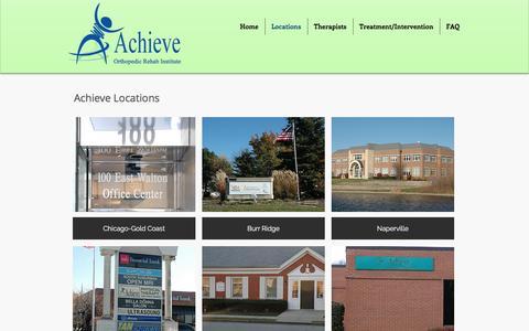 Screenshot of Locations Page achieveortho.com - Achieve Orthopedic Rehabilitation Institute   Locations - captured Nov. 20, 2016