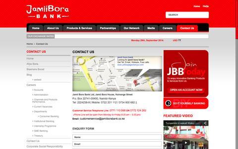 Screenshot of Contact Page jamiiborabank.co.ke - Contact Us | Jamii Bora Bank - captured Sept. 30, 2014