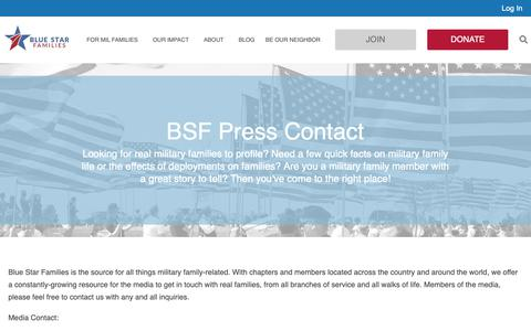Screenshot of Press Page bluestarfam.org - Press Contact - Blue Star Families - captured Oct. 6, 2018