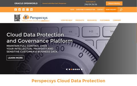 Screenshot of Home Page perspecsys.com - Cloud Security Software, Cloud Data Encryption | Perspecsys - captured Oct. 1, 2015