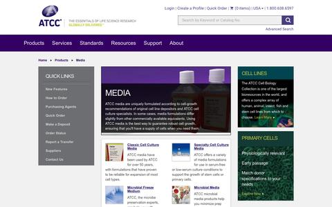 Screenshot of Press Page atcc.org - ATCC Media Products - captured May 28, 2017