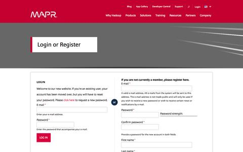 Screenshot of Login Page mapr.com - My Clusters | MapR - captured Oct. 27, 2014