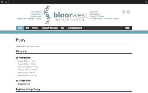 Screenshot of Hours Page bloorwesthealthcentre.ca - Office Hours | Bloor West Health Centre - captured Sept. 30, 2014