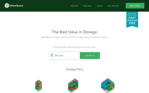 Screenshot of Pricing Page makespace.com - Storage Pricing | MakeSpace - captured Aug. 9, 2018