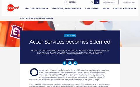 Screenshot of Press Page edenred.com - Accor Services becomes Edenred   Edenred - captured July 8, 2019