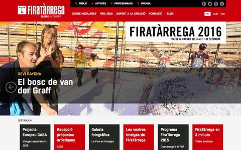 Screenshot of Home Page firatarrega.cat - FiraTàrrega - Teatre al carrer - captured Feb. 10, 2016