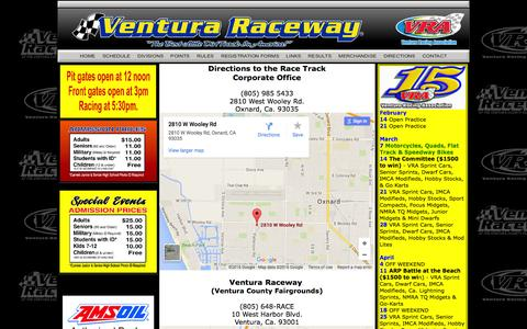 Screenshot of Maps & Directions Page venturaraceway.com - Direction Page - captured Feb. 23, 2016