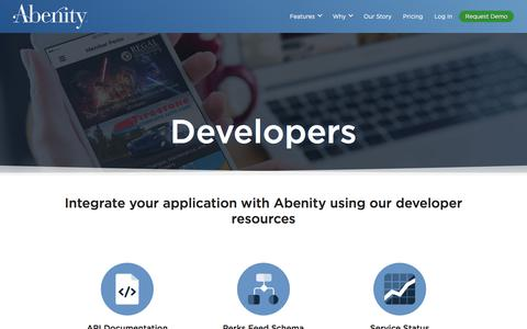 Screenshot of Developers Page abenity.com - Developers - captured June 3, 2016