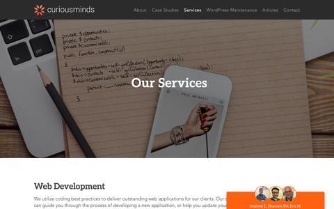 Screenshot of Services Page curiousm.com - Services | Curious Minds Media | Web Application Design Studio - captured Nov. 11, 2018