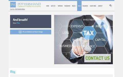 Screenshot of Blog pottershand.co.uk - Blog | Pottershand - Accountants in Wallington | Accountants - captured Sept. 28, 2018