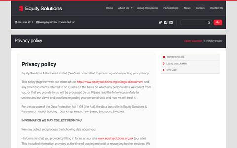 Screenshot of Privacy Page equitysolutions.org.uk - Privacy policy – Equity Solutions - captured Nov. 8, 2016