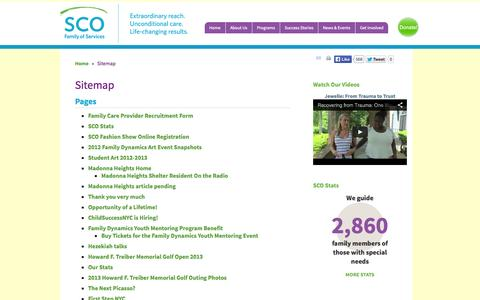 Screenshot of Site Map Page sco.org - Sitemap | SCO Family of Services - captured Oct. 3, 2014
