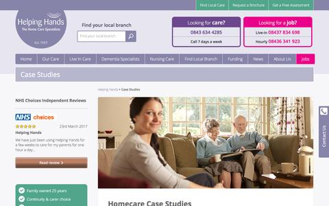 Screenshot of Case Studies Page helpinghandshomecare.co.uk - Case Studies | The Live-In Care Specialists | Helping Hands - captured May 18, 2017