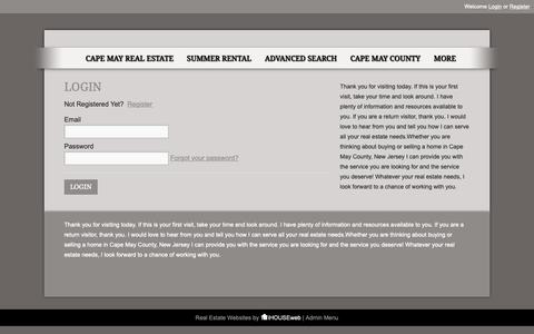 Screenshot of Login Page cometocapemay.com - User Login | Homes for sale in Cape May.  Full-time buyers agent Debbie Colubiale 609-408-3679.  Apex Realty, Inc. 2505 Bayshore Rd. Villas, NJ 08251 - captured Oct. 3, 2018