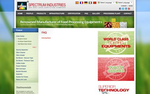 Screenshot of FAQ Page spectrumsorter.com - FAQ - Frequently Asked Questions - Spectrum Camera Color Sorter, Food Processing Equipments - captured May 25, 2016