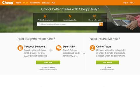 Screenshot of Home Page chegg.com - Chegg Study | Guided Solutions and Study Help | Chegg.com - captured Sept. 12, 2015