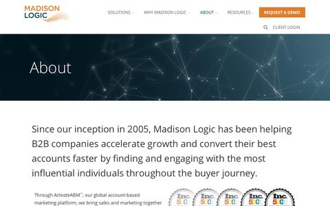 Screenshot of About Page madisonlogic.com - About Madison Logic - captured March 24, 2018