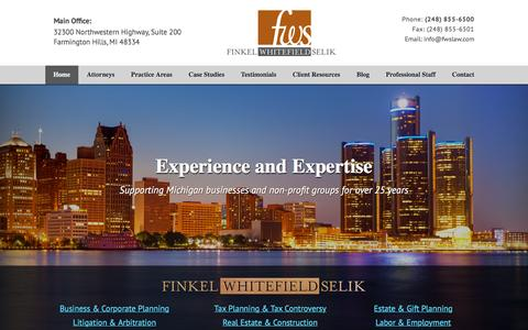 Screenshot of Home Page fwslaw.com - Farmington Hills Business Attorneys - Finkel Whitefield Selik - captured Feb. 10, 2016