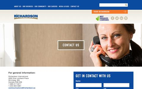 Screenshot of Contact Page richardson.ca - Contact Us | Richardson International - captured Oct. 22, 2017