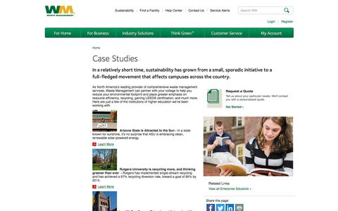 Screenshot of Case Studies Page wm.com - University and College Campus Recycling Programs | WM Case Studies - captured Jan. 26, 2017