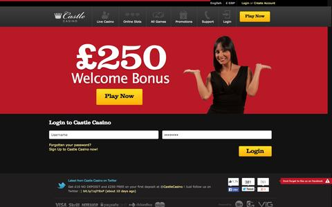 Screenshot of Login Page castlecasino.com - Login to Castle Casino - captured Sept. 19, 2014
