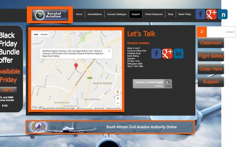 Screenshot of Support Page kershalaviation.com - Online Pilot Training - captured Nov. 27, 2016