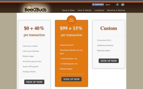 Screenshot of Pricing Page beer2buds.com - Pricing - captured Dec. 31, 2015