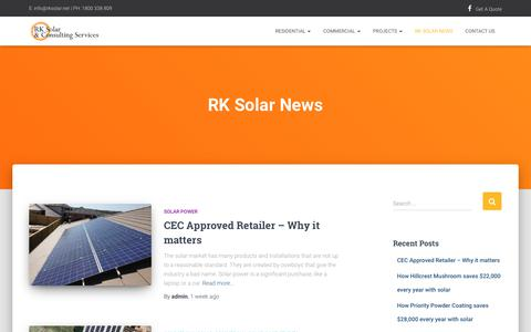 Screenshot of Press Page rksolar.net - RK Solar News - RK Solar - captured April 25, 2019