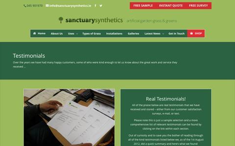 Screenshot of Testimonials Page sanctuarysynthetics.ie - what our customers think   testamonials - captured Dec. 21, 2015
