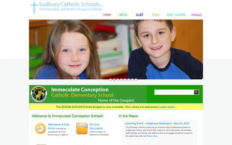 Screenshot of edu.on.ca - Immaculate Conception Catholic Elementary School in Sudbury, Ontario - captured June 19, 2015