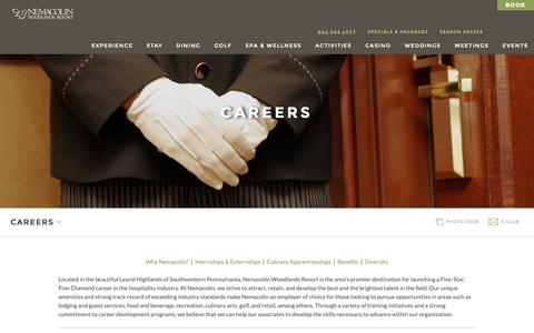 Screenshot of Jobs Page nemacolin.com - Hospitality Industry Careers | Nemacolin Woodlands Resort | Luxury Resort Jobs - captured Oct. 18, 2018