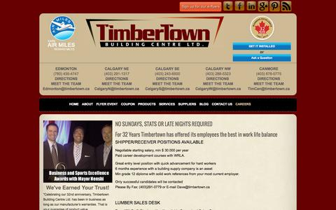 Screenshot of Jobs Page timbertown.ca - TimbertownCareers » Timbertown - captured Sept. 30, 2014