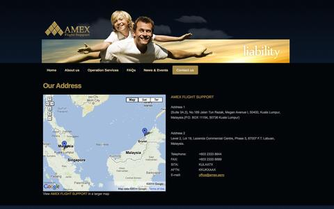 Screenshot of Contact Page amexjet.com - AMEX FLIGHT SUPPORT - captured Oct. 4, 2014