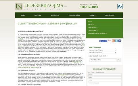 Screenshot of Testimonials Page lntlb.com - Clients Testimonials | Lederer & Nojima LLP - captured Nov. 5, 2016