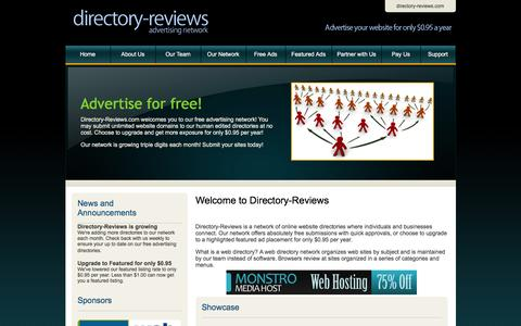 Screenshot of Home Page directory-reviews.com - Directory-Reviews.com | Free Directory Advertising Network - captured March 17, 2016