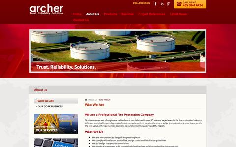 Screenshot of About Page archer-systems.com - Who We Are        ::         Archer (S) Pte Ltd – Fire Protection Company | Singapore - captured Oct. 4, 2014