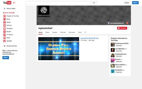 Screenshot of YouTube Page youtube.com - isgbasketball  - YouTube - captured Oct. 25, 2014